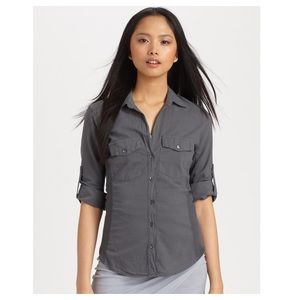 James Perse Gray Contrast Button Down Top